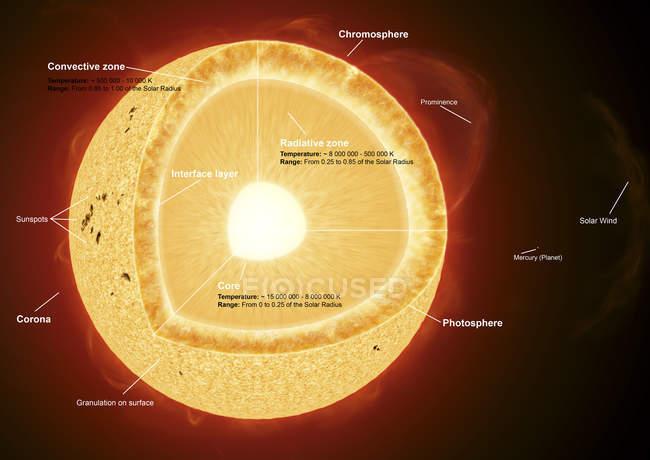 Partes del sol con etiquetas - foto de stock