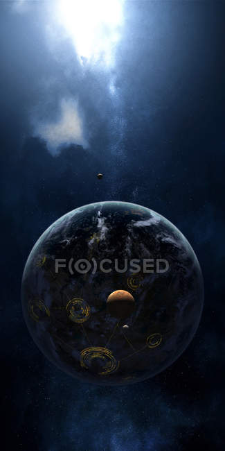 Lights of night side of planet — Stock Photo