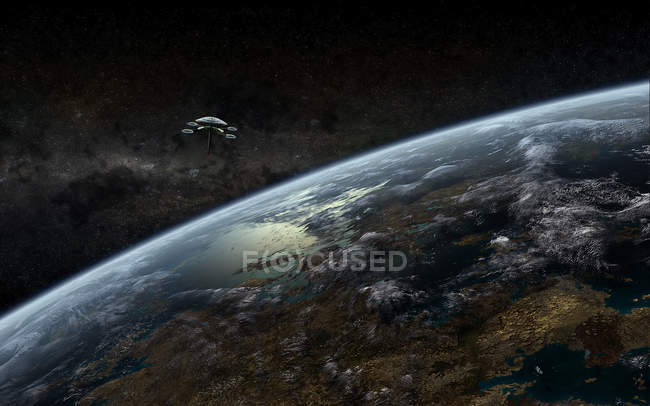 Planetscape with orbital space station — Stock Photo
