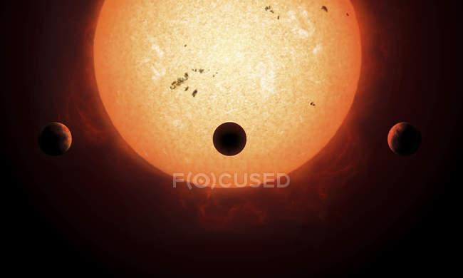 Three planets around star — Stock Photo