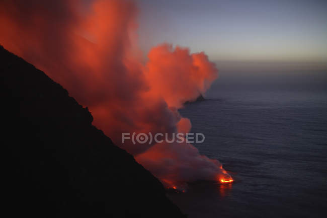 Stromboli виверження море запис — стокове фото