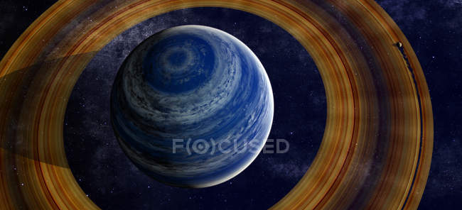 Inged blue gas giant with moon — Stock Photo