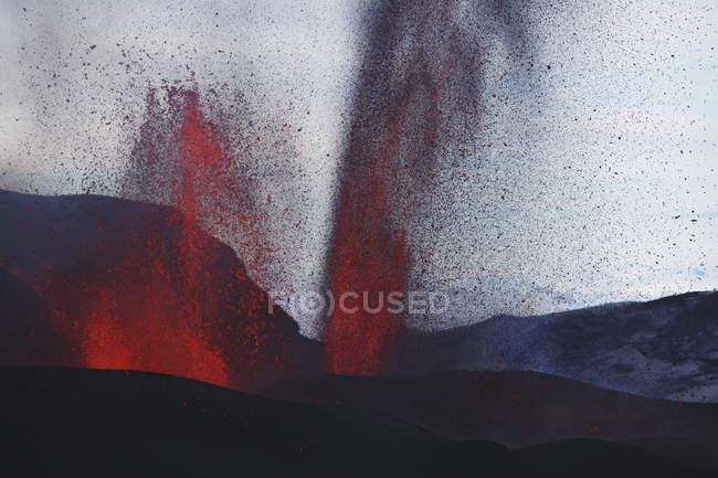 Fontes de lava da erupção de Fimmvorduhals — Fotografia de Stock