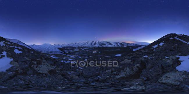 Starry sky over winter Khibiny Mountains — Stock Photo