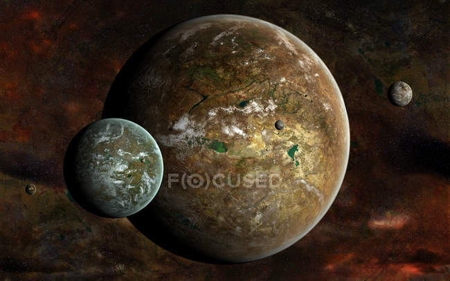 Extraterrestrial planets and moons — Stock Photo