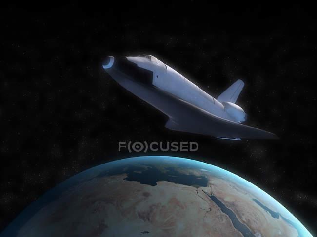 Transbordador espacial con planeta Tierra - foto de stock