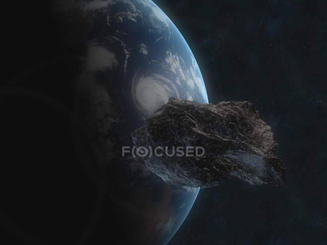 Asteroide cerca del planeta Tierra - foto de stock