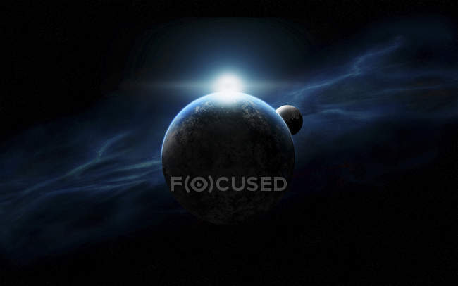 Planets and star in dark space — Stock Photo