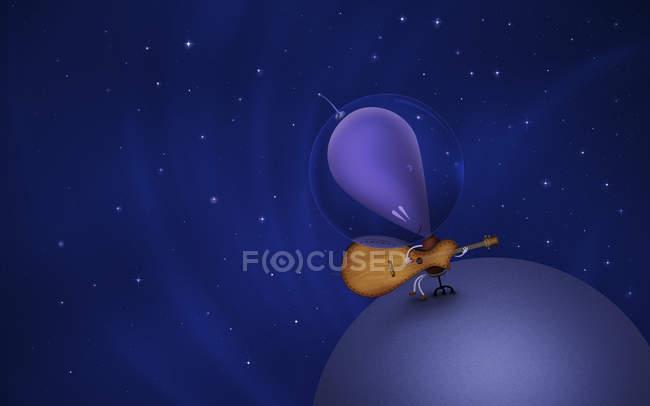 Mars spielt Gitarre auf dem Planeten — Stockfoto