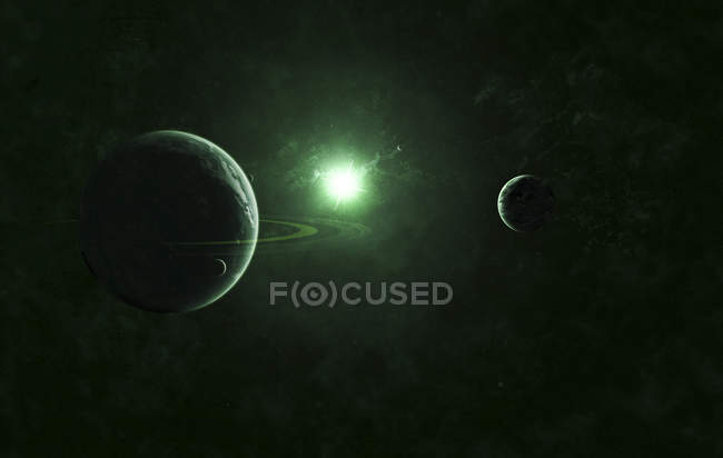 Two planets with green light star — Stock Photo