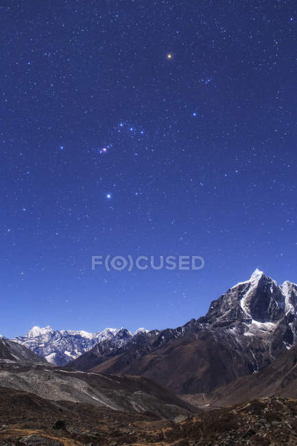 Constellation Orion over landscape of Himalayas — Stock Photo