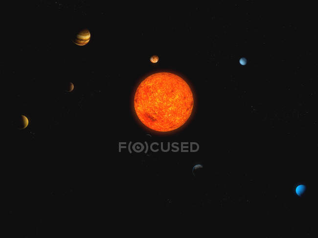 Sun and planets of solar system — Stock Photo