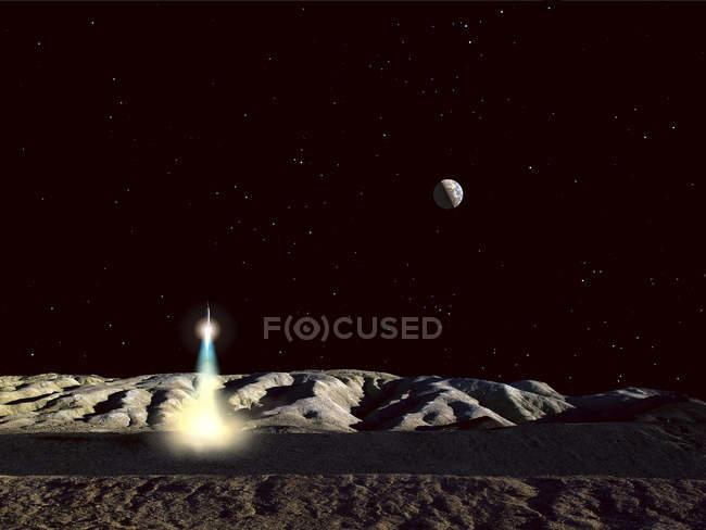 Lancement de vaisseau spatial à partir de la surface lunaire — Photo de stock