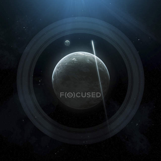 Planet with moon in rings — Stock Photo