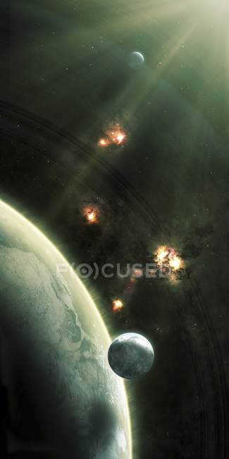 Asteroids entering atmosphere of planet — Stock Photo