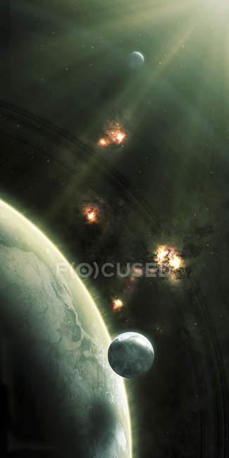 Астероиды, входящие в атмосферу планеты — стоковое фото