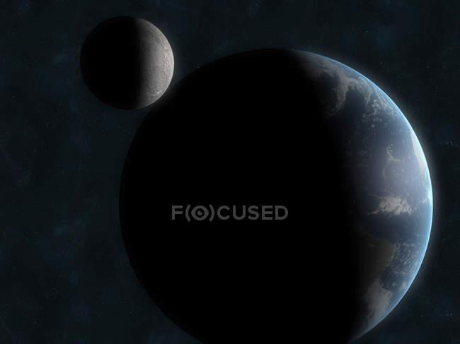 Shadowed Earth and moon — Stock Photo