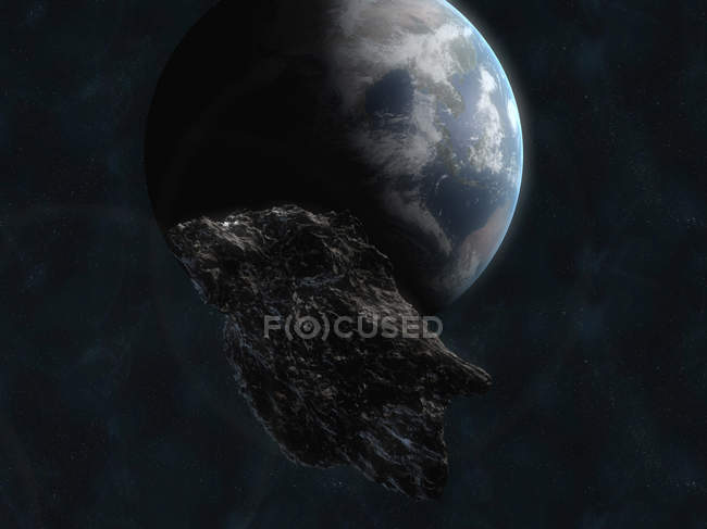 Asteroid near Earth planet — Stock Photo