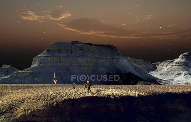 Astronautes et vaisseau spatial en terrain désert — Photo de stock