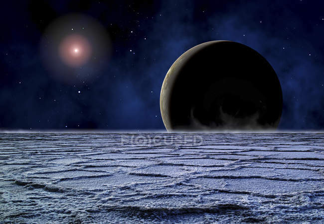 Deserted planet surface with shining star — Stock Photo