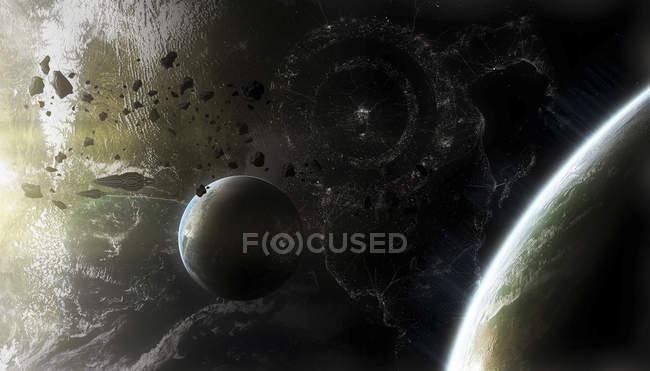 Composition des planètes avec astéroïdes et vaisseaux spatiaux — Photo de stock