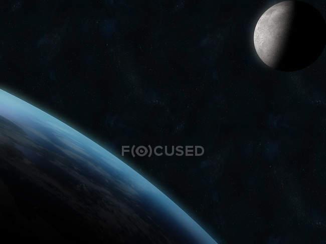 Terra e a lua no espaço escuro — Fotografia de Stock