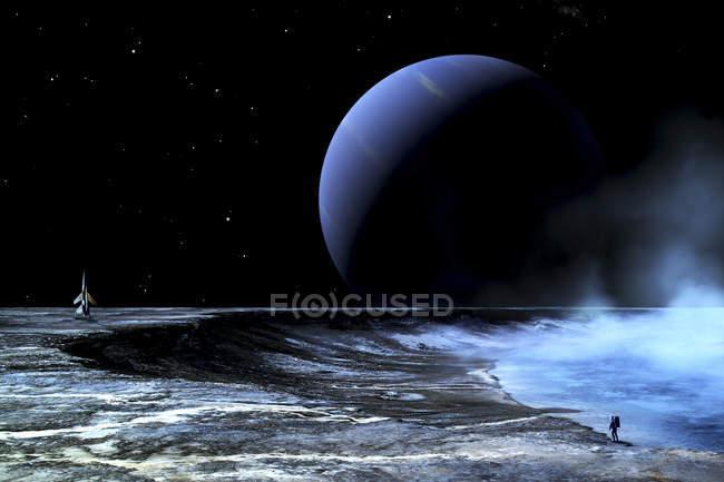 Astronaut am Rande des Sees stehen — Stockfoto