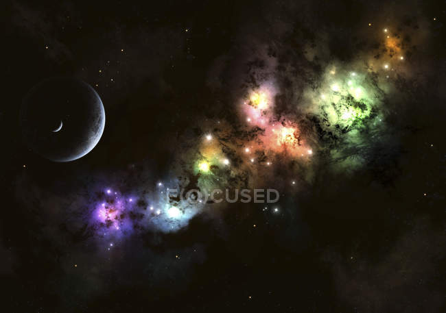 Starscape with planet and nebulas — Stock Photo