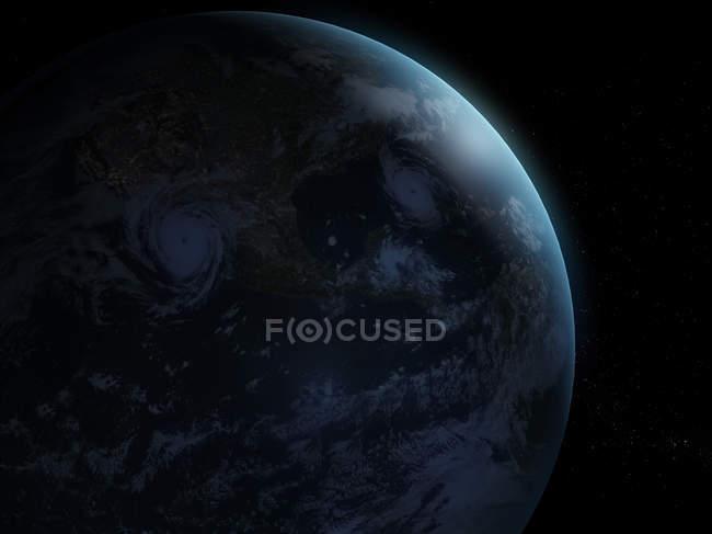 Shadowed Earth planet — стоковое фото