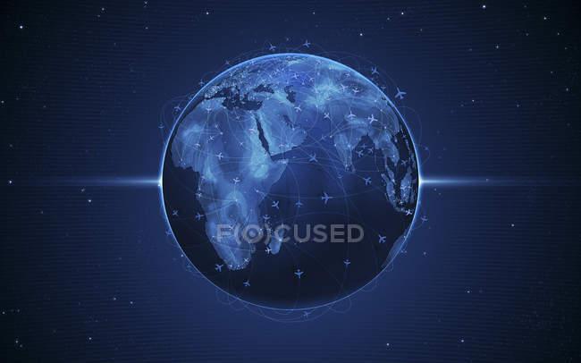 Rutas de vuelo en globo - foto de stock