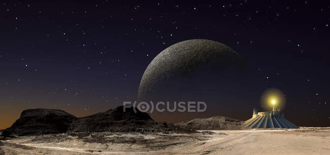 Building on barren planet — Stock Photo