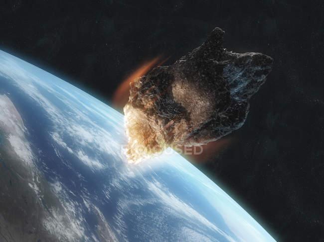 Asteroid entering atmosphere — Stock Photo