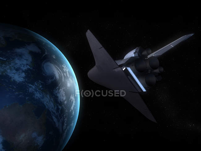 Space shuttle with Earth planet — Stock Photo