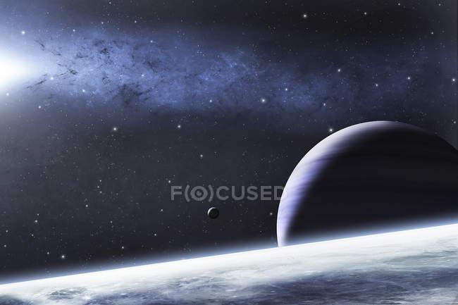 Bright nebula and planets — Stock Photo