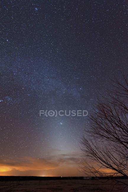 Зодіакального світла з Чумацький шлях на заході сонця — стокове фото