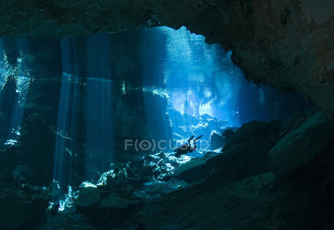 Diver in cavern at Chac Mool cenote — Stock Photo
