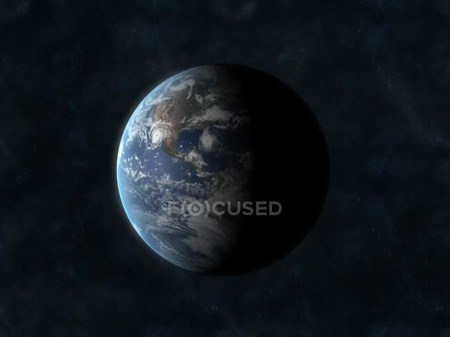 Tierra planeta en negro - foto de stock