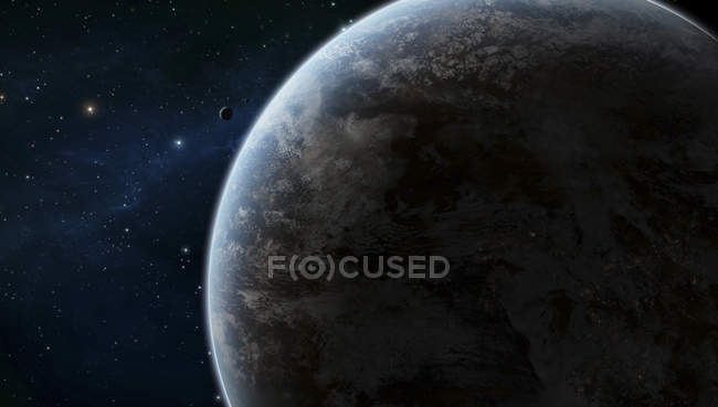 Planet in starry space — Stock Photo