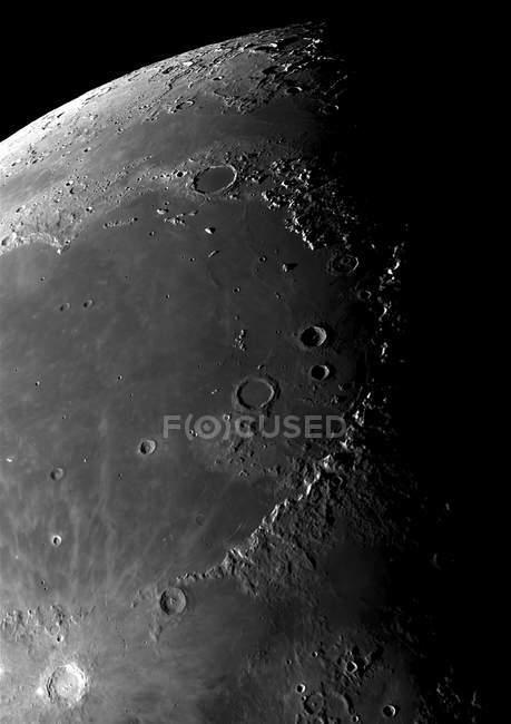 Craters copernicus near montes apenninus mountain range — Stock Photo