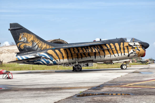 Greece, Araxos Air Base - May 5, 2009: custom painted A-7 Corsair II of Hellenic Air Force parking — Stock Photo