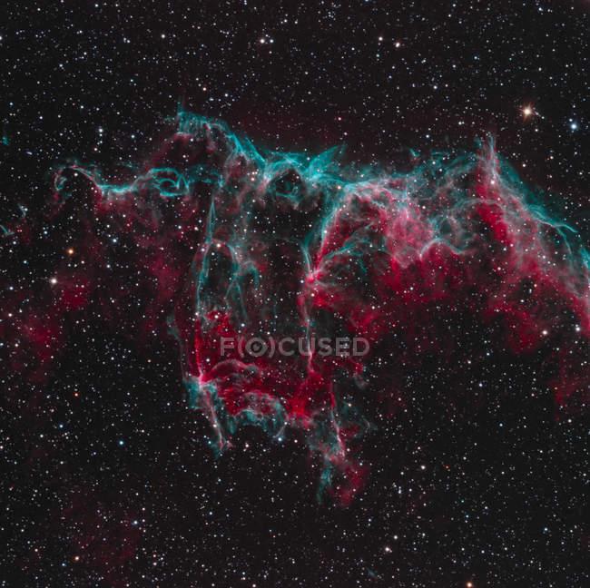 Parte di NGC 6995 Bat nebulosa nebulosa velo nella costellazione del cigno in alta risoluzione — Foto stock