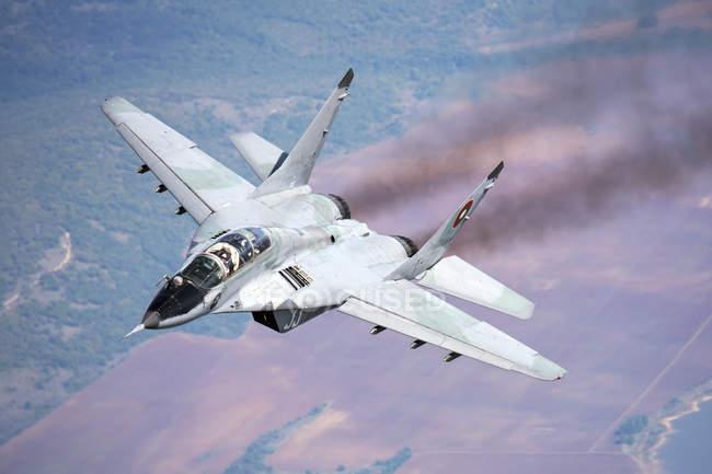Bulgaria, Graf Ignatievo Air Base - October 7, 2015: Bulgarian Air Force MiG-29s during training mission — Stock Photo