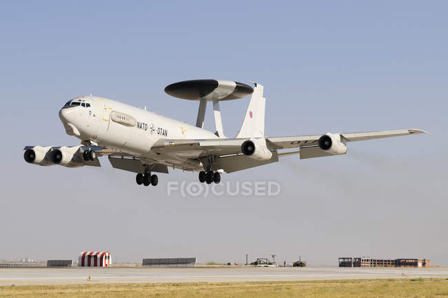 Turkey, Konya - June 26, 2013: NATO AWACS E-3A Sentry attending international Exercise Anatolian Eagle 2013-2 — Stock Photo