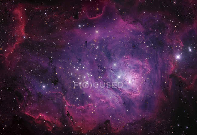 Messier 8 Lagoon Nebula in true colors in high resolution — Stock Photo