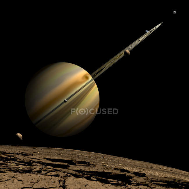 Ringed gas giant planet with six moons on black background — Stock Photo