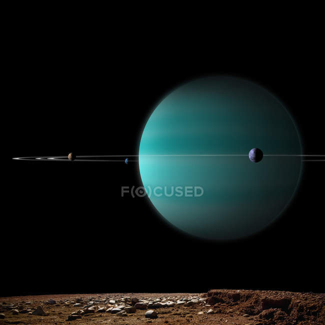 Ringed gas giant planet surrounded by moons on black background — Stock Photo