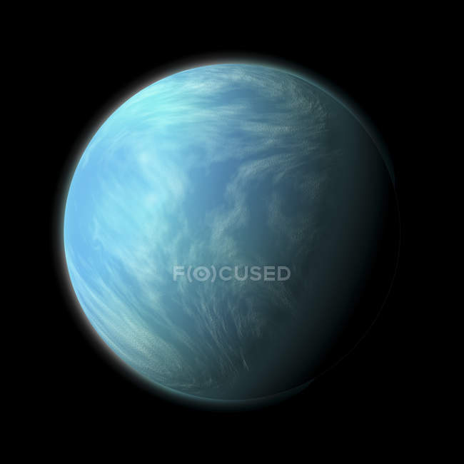 Planet Kepler 22b in habitable zone of type G star about 600 light years from Earth in constellation Cygnus — Stock Photo
