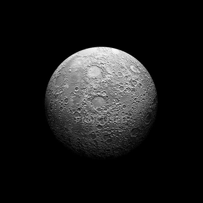 Heavily cratered moon in high resolution on black background — Stock Photo
