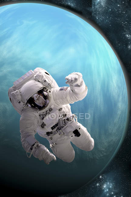 Astronaut floating in outer space above large, alien planet — Stock Photo