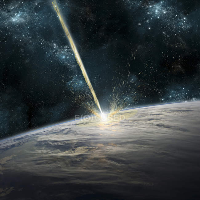 Meteor striking Earth, clouds covering ocean area of planet — Stock Photo